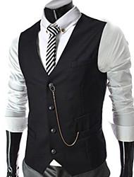 Raffiné col V chaîne en métal de décoration hommes Vest