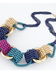 Women's Euramerican Metallic Knitted Mixed Color Necklace