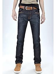 Herrenmode Leder Verschönerung gerade Jeans