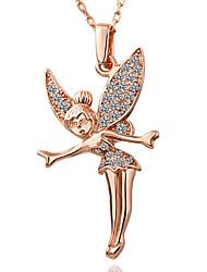 HoneyBaby Women'S Rose Gold Plate Austrian Rhinestones Angel Necklace