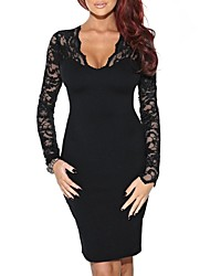 Women's  V Neck Sexy  Slim Long Sleeve Cocktail Party Dresses