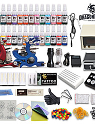 Professional Tattoo Kit 28 color Ink Power Supply 2 Machine Guns