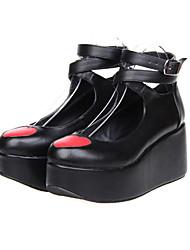 Coração Vermelho Plataforma clássico Lolita Preto PU 8 centímetros sapatos de salto alto