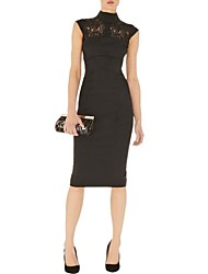 Women's Formal Sheath Dress,Solid Turtleneck Knee-length Sleeveless Black Polyester Spring / Summer / Fall
