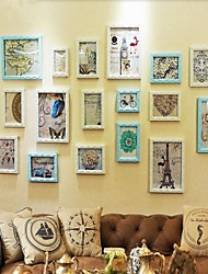 Sky Blue with White Color Photo Frame Collection Set of 18