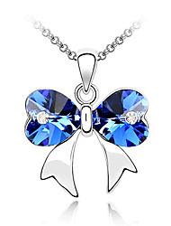 Taoyuan Women's Glisten Bow Shape Crystal Platinum Necklace