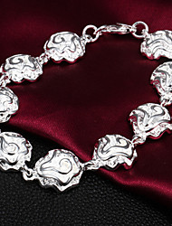 High Quality Beautiful Silver Silver-Plated Flowers Linked Charm Bracelets