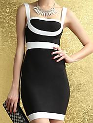 HYD Frauen Schwarzweiß-Trägern, figurbetontes Kleid Rückenfrei