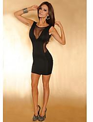 Mulheres Sexy Malha Costura Backless Bodycon Vestido