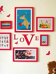 Red Photo Frame Collection Set of 06 with Butteryfly Wall Sticker