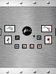 Black Color Photo Wall Frame Collection Set of 12 with DIY a Wall Clock