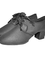 Non Customizable Women's Dance Shoes Latin/Ballroom/Practice Shoes Leatherette Chunky Heel Black