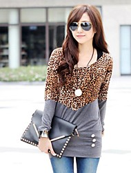 Women's Fashion Casual Top Blouse with Leopard Patchwork Long Design