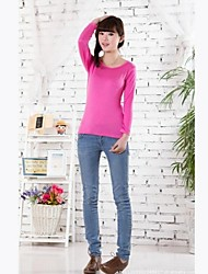 Women's Solid Black/Pink/Red/Yellow T-shirt , Round Neck Long Sleeve