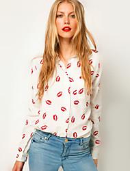 Femininos Primavera Red beijo camisa de manga longa