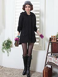 Calidez Negro manga larga Z-Mostrar Mujeres Mantener Set abrigo y el sombrero