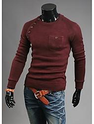 Herren T-shirt-Einfarbig Freizeit Baumwollmischung Lang-Rot / Beige / Grau
