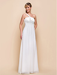 Floor-length Chiffon Bridesmaid Dress - Sheath / Column One Shoulder with Bow(s) / Ruching / Pleats