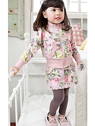 Girl's Clothing Set,Floral Cotton Blend Winter