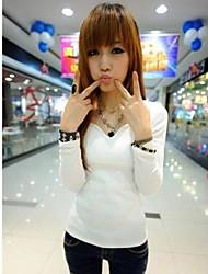 Frauen mit V-Ausschnitt Dünne Langarm-Shirt