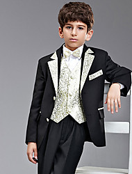 Seven Pieces Black And Gold Ring Bearer Suit Tuxedo With Two Bow Ties
