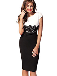 Missmay Women's Scoop Neck Contrast-Waist With Embroidered Lace Bodycon Dress