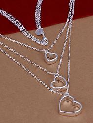 Silk Road Silver Three Hearts Design Necklace(Screen Color)