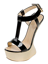 Leather Women's Wedge Heel T-strap Sandals Shoes(More Colors)