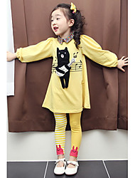 Girl's Music Bear Contrast Color Clothing Sets