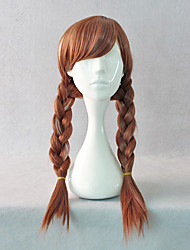 Snow Princess Super Power Anna Brown Braid Pigtails Halloween Cosplay Wig