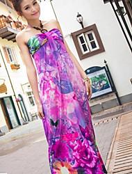 De las mujeres Corte Swing Vestido Playa Floral Mini Halter Raso