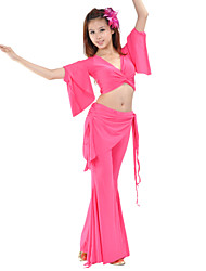 Belly Dance Sexy V Neck Nylon & Rayon Top & Bottom Outfits More Colors For Women