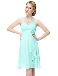 Цветок Уникальный оборками империи талии Короткое свадебное платье