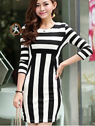 Estilo Europeu das Mulheres mangas 3/4 Vestido Stripe