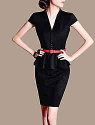 Das Lifver Mulheres V-Neck Ruffle balanço Bodycon vestido preto