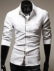 U2M2 Herrenmode Weiß-Revers-Neck-Shirt Buckle