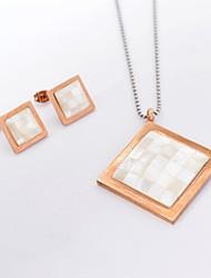 Fashion Rhombus Titanium Steel  Necklaces Earrings Gemstone Jewelry Sets