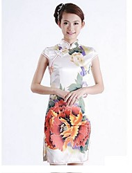 Women's Print / Vintage Floral Sheath Dress , Stand Above Knee Silk