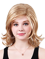 Capless Long High Quality Synthetic Blonde Wavy Side Bang Wings
