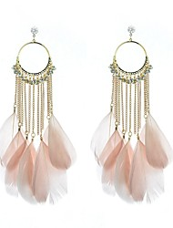 Drop Earrings Hoop Earrings Rhinestone Feather Simulated Diamond Alloy Feather Jewelry Wedding Party Daily Casual