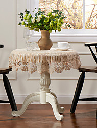 Beige 100% Cotton Round Table Cloths