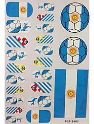 2шт 20 Аргентина Кубок мира по футболу Pattern Nail Art Наклейки и 3 Временные татуировки