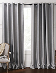 Blackout Minimalist Grey Solid Embossed Curtain (Two Panels)