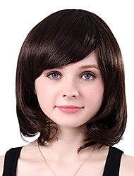 Capless Medium High Quality Synthetic Brown Wavy Side Bang Wings