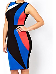 Plus Size Color Block Midi Vestido ajustado