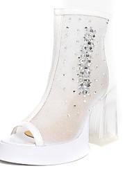 Chunky tacón peep toe botines de moda de cuero de patente de las mujeres (más colores)