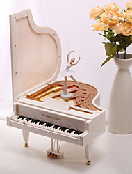 White Plastic Piano Music Box with A Dancing Girl