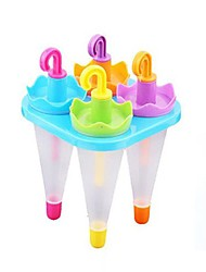 4 Cups Assorted Colored Umbrella Shape Popcicle Moulds Tray,  Food Safe PP Material, Random Color