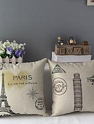Conjunto de dois Torre Eiffel e Torre Inclinada de Pisa Capas de almofada decorativa