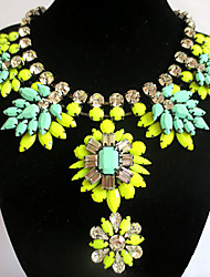 European Fashion Vintage Necklace Alloy Flower Statement Necklaces 1pc